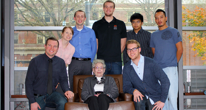 Bev Brown pictured with scholarship students