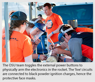 Oregon State's AIAA team at rocketry competition.