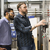 Vishvas Chalishazar and Ted Brekken perform research in the Wallace Energy Systems and Renewables Facility at Oregon State University.