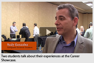 Two students talk about their experiences at the Career Showcase.