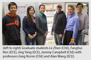 Graduate students Le Zhen (ChE), Fanghui  Ren (ECE), Jing Yang (ECE), Jeremy Campbell (ChE) with  professors Greg Rorrer (ChE) and Alan Wang (ECE).
