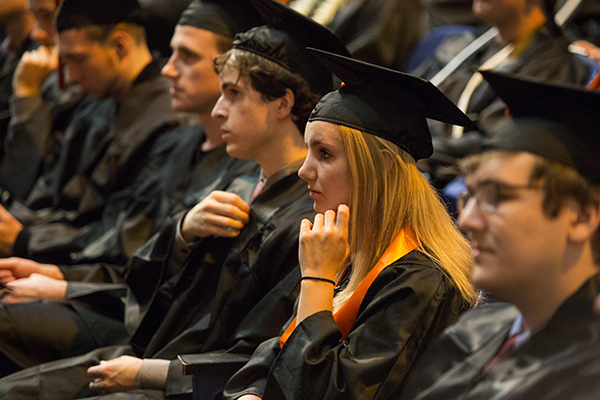 Photo of students at the EECS graduation celebration.