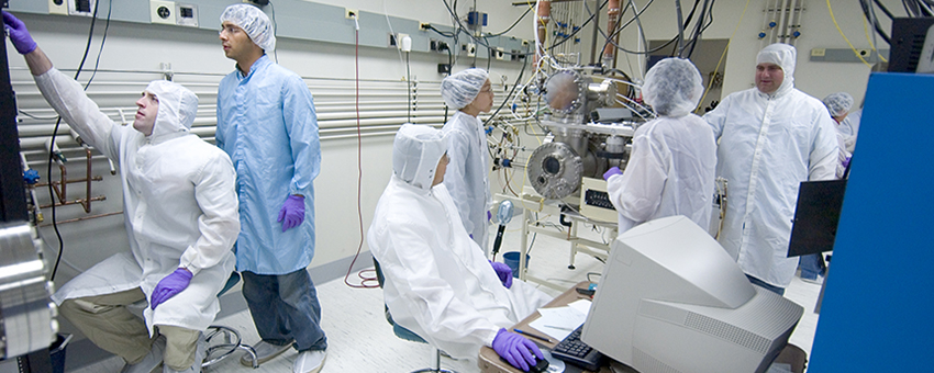 Photo of students in the clean room