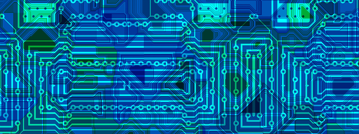 Abstract graphic depicting computer circuits