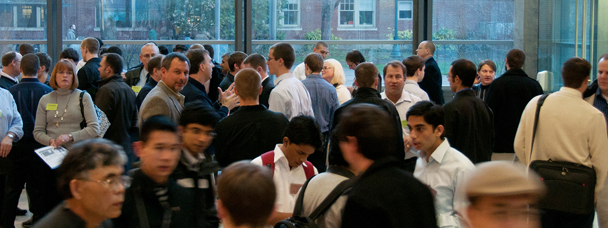 Students and industry representatives chat during a recruiting event at OSU