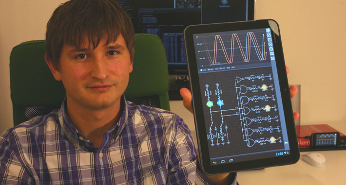 Igor Vytyaz with his app, EveryCircuit.