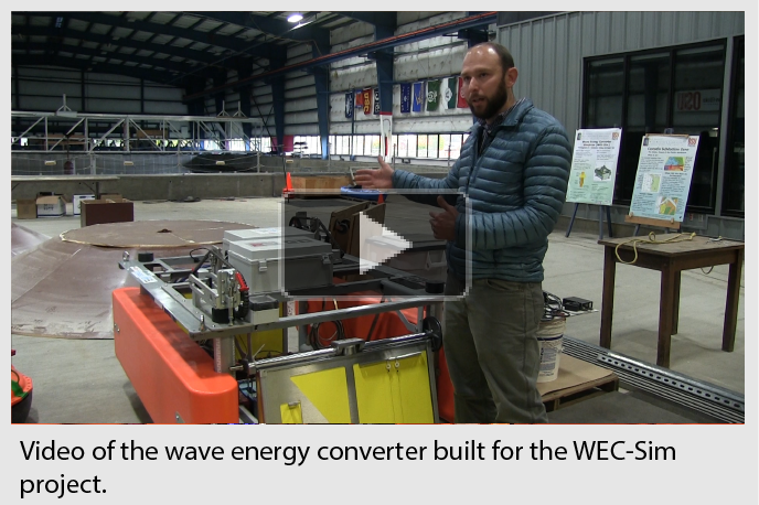 Video of the wave energy converter built for the WEC-Sim project.